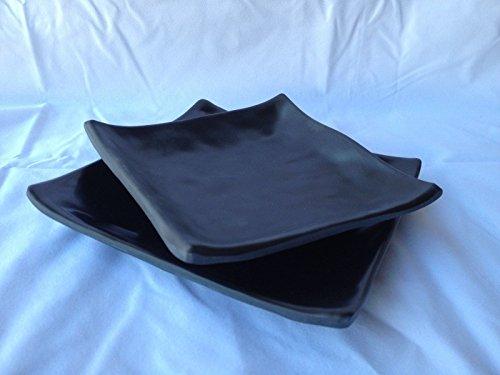 Lucky Star Melamine Square Plates Dinner Appetizer Platter Snack Side Dish, 6' or 5', Black (24, 6' X 6')