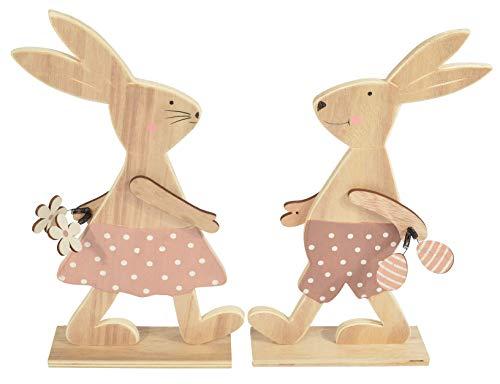 Deko Lot de 2 Figurines de Lapins de Pâques en Bois 31 cm