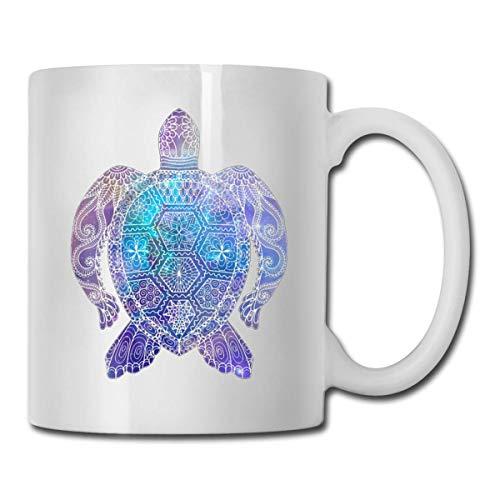 Taza de té con diseño de tortuga de mar espacial, divertida y de cerámica, color blanco