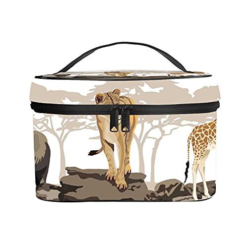 Bolso cosmético portátil del Viaje de Las señoras,Bolso del Maquillaje,Ilustración de sabanas Salvajes Animales africanos Jirafa exótica León Elefante,Bolsa de Aseo multifunción Que recibe