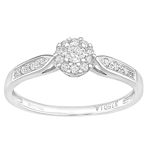 Naava 9ct Wit Goud Rond 0.25ct Halo Diamond Engagement Ring