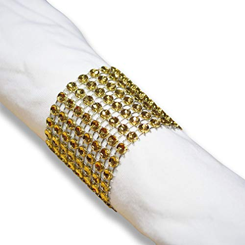 SKY CANDYBAR Napkin Rings Rhinestone Napkin Rings Adornment for Wedding Party (50 PCS, Gold)