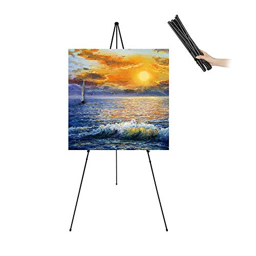 """JIUYE 63"""" Tall Display Easel Stand,Adjustable Folding Poster Easel for Arts/Signs Showing,Telescopic Floor Instant Easel Used at Exhibition/Lobby,Holds 5lbs,1Pack"""