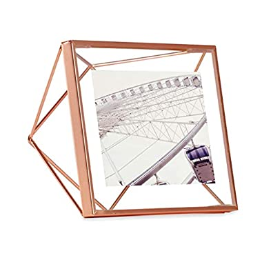 Umbra Prisma 4 x 4 Picture Frame – Floating Wall or Desk Photo Display for Pictures, Art, Illustrations, Graphic Text & More, Metal, Copper