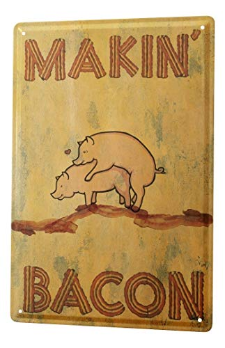 LEotiE SINCE 2004 Fun Tin Sign Metal Plate Decorative Sign Home Decor Plaques Wall Decor Makin Bacon herzelnde Pigs 8X12