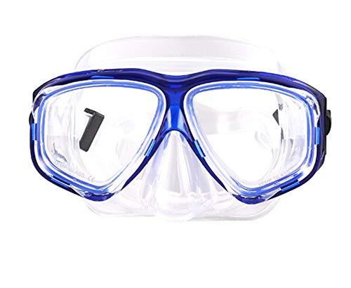 ShuoBeiter Tauchermaske kurzsichtig Diving Tauch Schnorchel Maske NEARSIGHTED Verschreibung RX Sehstärke (Blue, -6.0)