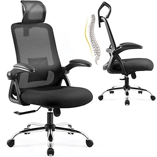 Ergonomischer Bürostuhl, EPLUS LIVING Chefsessel mit Kopfstütze,Computerstuhl mit Verstellbaren Lordosenstütze, Bürostühle mit Armlehnen Rückenlehne, Höhenverstellbarer Drehstuhl für Arbeitszimmer