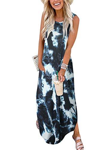 ANRABESS Casual Tie Dye Maxi Dress Crew Neck Sleeveless Loose T Shirt Long Dress with Pockets A19huilanbai-XL