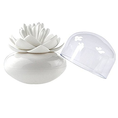 HomDSim Stylish Beauty Lotus Cotton Bud Swab Small Toothpicks Q-tip Brushes Box Holder Case Storage Organizer Container Jar with Clear Lid Cover Dustproof Flower Vase Cosmetic Pads