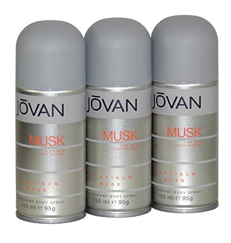 JOVAN MUSK PLATINUM - Deodorant Spray für IHN im 3er Pack (3x150ml)