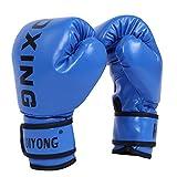 HUINING Guantes de boxeo para niños,guantes de artes marciales mixtas, guantes de entrenamiento de PU de dibujos animados, 6 onzas, para edades de 5 a 12 años (azul de boxeo)
