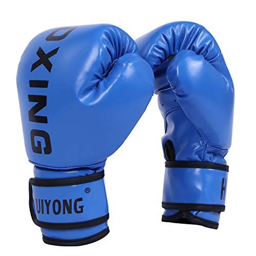 HUINING Kinder-Boxhandschuhe, Boxhandschuhe, MMA-Handschuhe, Polyurethan, Cartoon-Sparring, Dajn, Trainingshandschuhe, 113 g, für Alter 3–12 Jahre (Boxing Blue-FBM)