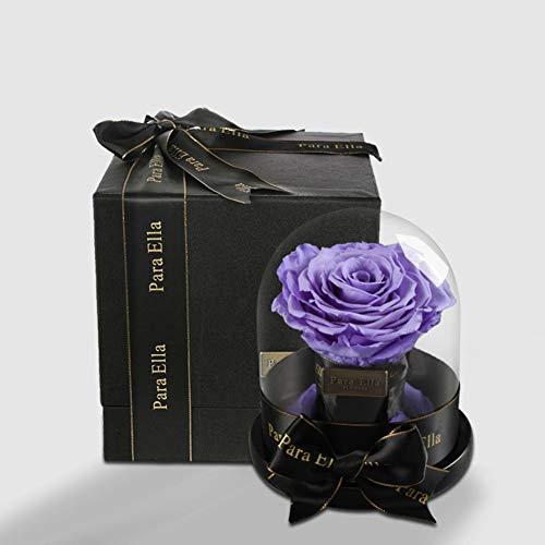 RYEF Siempreviva Rosa con Cubierta de Cristal,Flor Rosa Gigante Caja de Regalo...