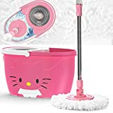 Magshion Smart Spin Mop Wringer Bucket Household Cleaning Kit, Dry& Wet Multi-Surface, Pack with 2 Replaceable Microfiber Mop Heads, Pink