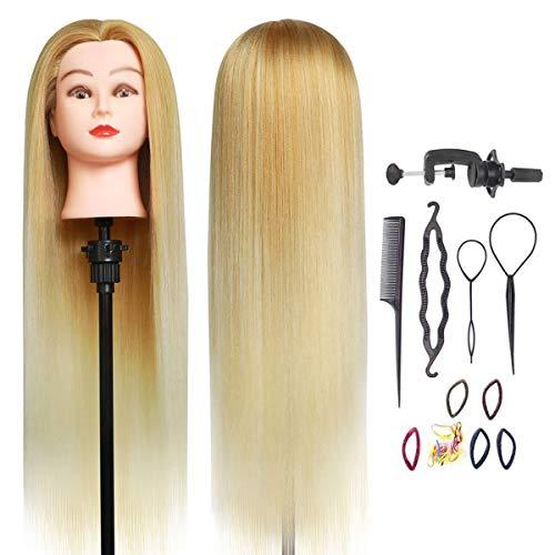 Testa per parrucchiere, DanseeMeibr 66cm Testa di manichino con capelli allenamento Cosmetologia da bambola per treccia 100% fibra sintetica con morsetto + styling dei capelli accessori B