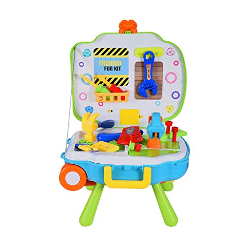 for Kids Pretend Play Food Car, Chef Role Play Pretend Play Workbench&Pull Bar Box Backpack Kitchen Set Best [Ship from US]