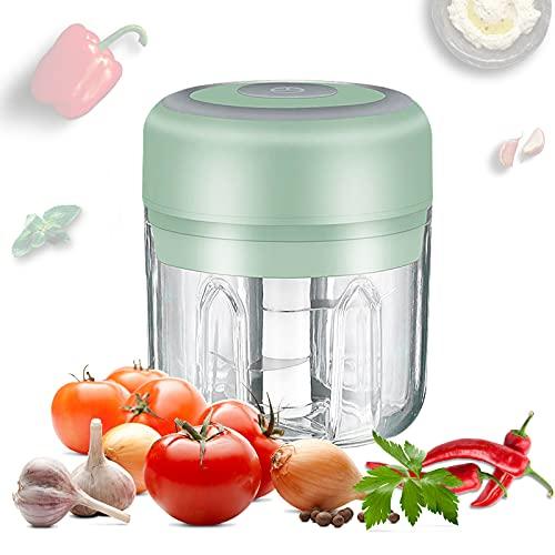 FENRIR Elektrisch Zerkleinerer Küche,250ml Küchenmaschine Mixer,Elektrisch Zwiebelhacker, Hackfleisch Maschine USB-Lade-Gemüsemixer mit 3 Scharfen Klingen, Fleisch, Obst