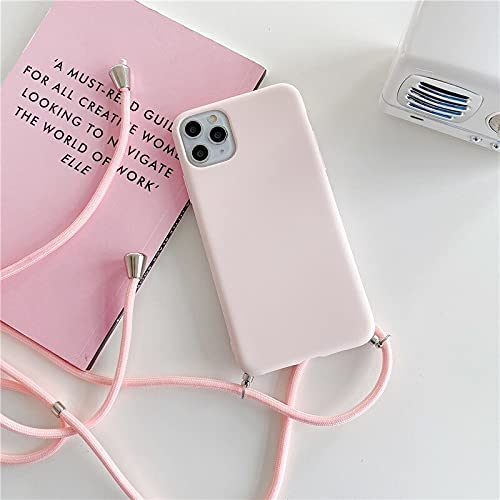 JOEDOT Crossbody Necklace Strap Lanyard Cord Silicone Phone case for iPhone 12 Mini 12 Pro Max 11 Pro Max X XR XS Max 6S 7 8 Plus Cover (12-Pink, for iPhone 7 Plus)