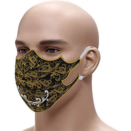 Designer Schutzmaske Edel gestickter Mundschutz Gesichtsmaske➤Stickerei 60° waschbar Floral Tribal