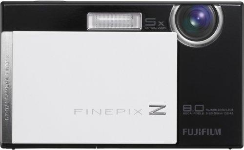 Fujifilm FinePix Z100fd Digitalkamera (8 Megapixel, 5fach opt. Zoom, 6,9 cm (2,7 Zoll) Display, Bildstabilisator) schwarz-weiß Klavierlack