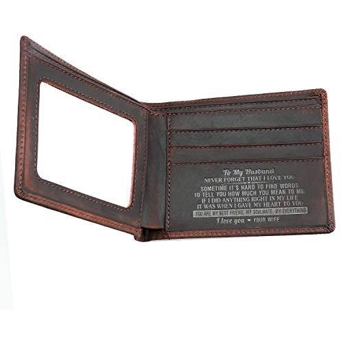 Husband Wallet from Wife,Custom Personailzed Leather Wallet Gift for Husband at Birthday,Valentine's Day,Anniversary