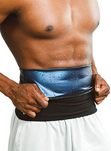 Sweat Shaper Premium Waist Trimmer for Men, Waist Trainer Sauna Belt, Neoprene-Free Waist Cincher, Sauna Slimming Belt (Black, Large)
