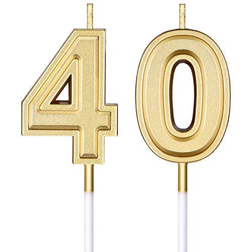 Velas de 40 Cumpleaños Velas Numerales de Pastel Decoración de Topper de Velas de Tarta de Feliz Cumpleaños para Suministros de Celebración Boda Cumpleaños Aniversario (Oro)