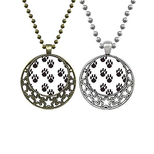 Halskette mit Anhänger mit Pfotenabdruckmotiv, Retro-Stil, Mond, Sterne, Schmuck