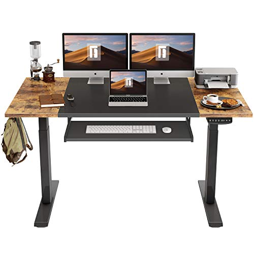 FEZIBO Dual Motor Height Adjustable Electric Standing Desk with Keyboard Tray, 63 x 24 Inch Sit Stand Table with Splice Board, Black Frame/Rustic Brown and Black Top