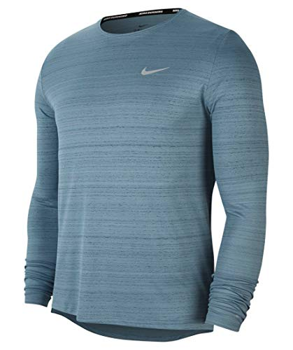 NIKE M NK DF Miler Top LS Long Sleeved t-Shirt, Hombre, Ozone Blue/Reflective silv