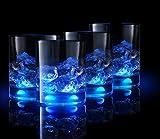 Tocco Premium Longdrinkgläser Kristall Set - Innovativ Leuchtend durch Berührung Cocktailgläser Set - Lichteffekt Wassergläser Set - Beleuchtetes Trinkglas mit Geschenkbox - (Blue, 4)