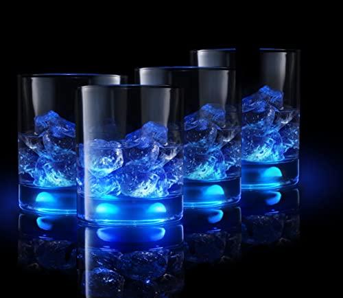 Vasos de whisky TOCCO Premium-Vasos de cóctel que comienzan a iluminarse cuando se tocan - Vasos luminosos para whisky, así como para licor, bourbon o whisky escocés para amantes de cócteles y whisky
