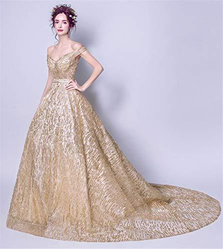 LYJFSZ-7 Hochzeitskleid,Champagner-Goldkleid, Schulterfreies, Ärmelloses Kleid, Party-Abendkleid