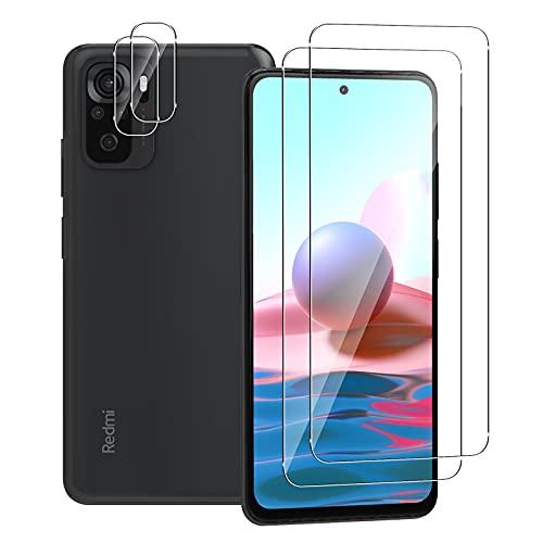 Aerku Panzerglas Bildschirmschutzfolie für Xiaomi Redmi Note 10S / Note 10 4G [2 Stück] + Kamera Schutzfolie [2 Stück], 9H HD Anti-Kratzer Folie Ultra Glatte Film Bildschirmschutzfolie-Transparent