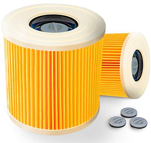 2x Patronenfilter +2 EXTRA Verschlusschrauben | Patronen Filter Staubsauger für Kärcher WD3 Premium WD2 WD3 WD 3 MV3 WD 3 P Extension KIT ersetzt 6.414-552.0, 6.414-772.0, 6.414-547.0 - waschbar!