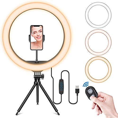 """BFGTOR 13"""" LED Anillo de Luz de Escritorio, Aro de Luz con Trípode, 3 Modos de luz y 10 Niveles de Brillo,Wireless Control Remoto y Recargable USB, Móvil Selfie, Youtube, TIK Tok Live"""