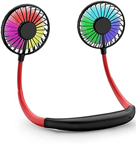 Archile Mini Fan USB Ventilador de Banda de Cuello usable Recargable, Ventilador del Collar, Ventilador Fresco con Cabezal de Doble Viento 3 velocidades para el Deporte de Viaje en el Deporte al Aire