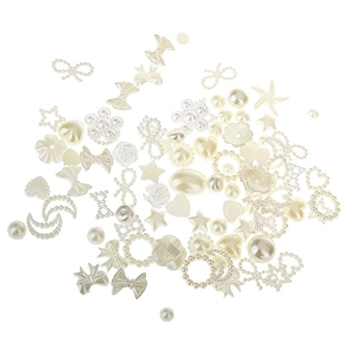 freneci 100x Resin Pearl Embellishments Buttons Flatback for Phone Case Nail Craft