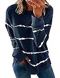YNALIY Tie Dye Crew – Sudadera de manga larga para mujer, estilo batik camiseta, túnica, manga larga, informal, otoño azul marino L
