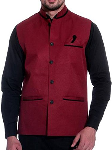 BIS Creations Party Wear Men's Cotton Waistcoat (Maroon , Large)
