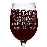 ビンテージ 2000 エッチング 16オンス ステム付きワイングラス - 21歳の誕生日 完璧な年齢に - 21歳のギフト