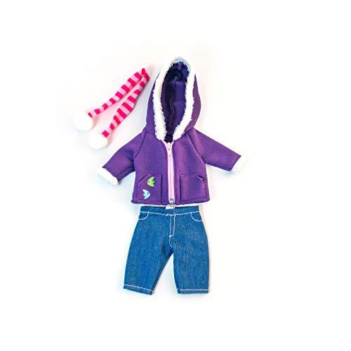 Miniland poppenkleding Jeanbroek, jas met capuchon en sjaal paars, roze, blauw.
