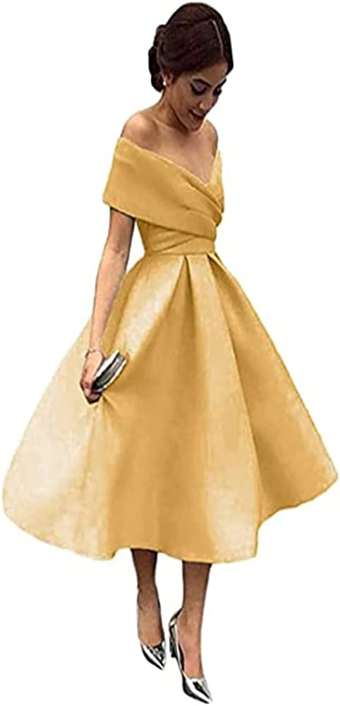 Luokadress Off The Shoulder V-Neck Satin Bridesmaid Dresses Prom Dress for Wedding Cocktail Party