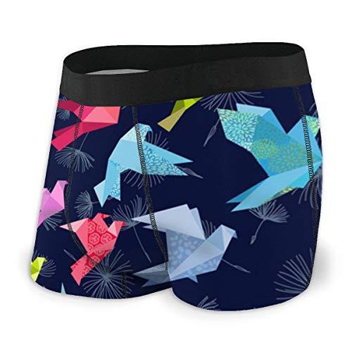 Men's Boxer Briefs Origami Birds In Flight Hip Underwear with Comfort Waistband