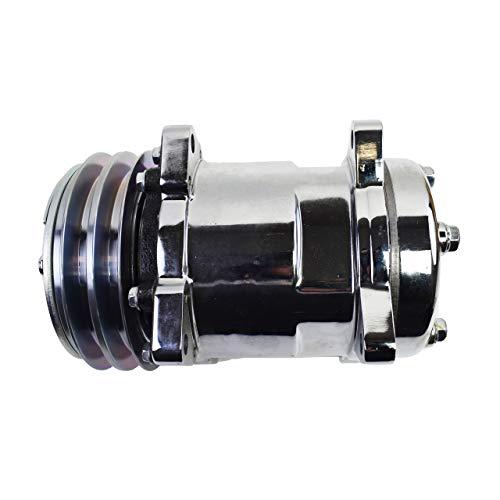 A-Team Performance Sanden 508 Style Silver Clutch V-Belt Universal Air Condition AC Compressor, Chrome