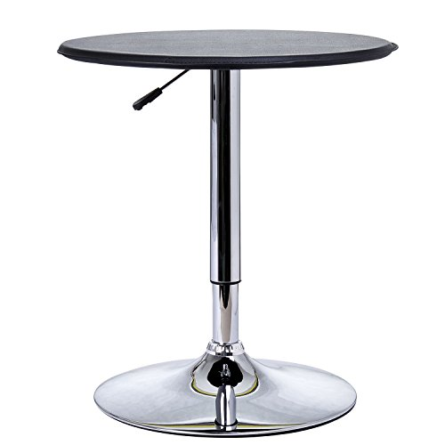 HOMCOM Adjustable Round Bistro Bar Table with PVC Leather Top Steel Base Home Kitchen Dining Desk Black