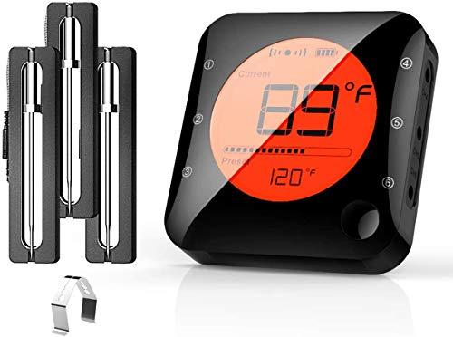 Küche Bluetooth Thermometer Digitale Grillhermometer mit 3 Temperaturfühler Fleischthermometer mit Alarm Polierte Schale für Grill BBQ Freund Geschenk