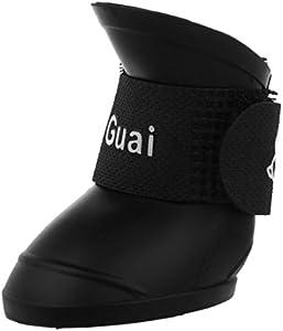TOOGOO£¨R£©Negro S, Zapatos de mascota Botines de goma Botas de lluvia impermeable de perro