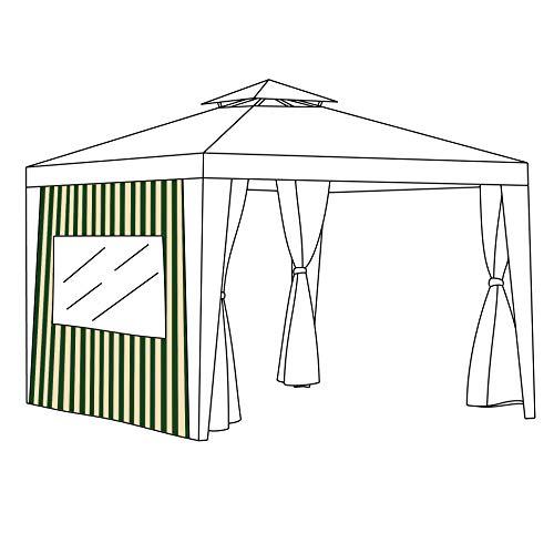 Green Striped Replacement Gazebo Curtain 2 Metre Window Panel