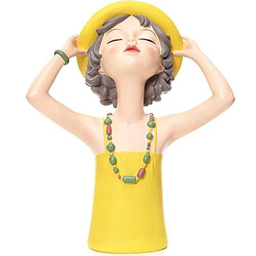 Ybzx Estatua de Resina para Mujer, decoración de estatuilla, esculturas, decoración del hogar Moderna para la Oficina en casa, Adorno de Mesa como Gran Regalo para niña, Amarillo